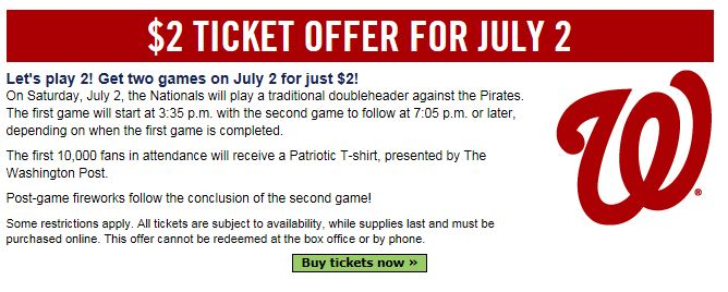 Nationals tickets coupon code