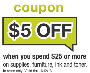 Hurry and grab your Office Max printable coupon valid for $5 off a $25